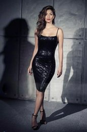 Wholesale Sexy Sparkling Black Sheath Cocktail Dresses Sequins Spaghetti Neck Sleeveless Backless Knee Length Club Gowns In Stock Cheap On Sale