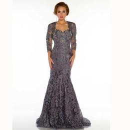 Discount Long Sleeve Grey Lace Mermaid Dresses | 2017 Long Sleeve ...