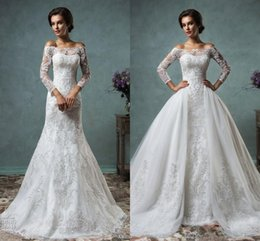 Wholesale 2016 Amelia Sposa Mermaid Wedding Dresses With Detachable Skirt Off The Shoulder Long Sleeve Full Lace Sexy Bridal Gowns Robe de mariage