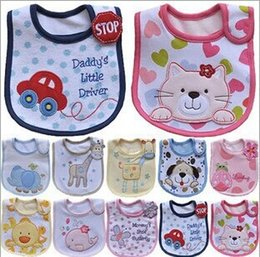 Wholesale 10pcs cotton Baby boys girls bibs Infant embroidered saliva towels Feeding Burp Cloths Lovely Baby Accessories Waterproof bib