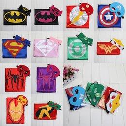 Wholesale Superhero Cape Mask L70 W70CM Double Side batman superman cape mask Reversible Superhero Cape supergirl cape mask set