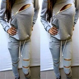 Wholesale NEW Fashion Casual Women Tracksuit Brand Sweatshirt Jogging Pants Two set Women Clothing Gray Sports Suit Zipper Tracksuits Sports Costumes