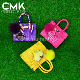 Wholesale CMK KB123 New Arrived Mini Birki Bags Colors Python PU Leather with Sheep Shape Keychain and Strap kids bags girls bag