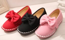 Wholesale Baby Shoes Girl Shoes Spring Princess Girls Korean Style Lace Bow Flat Leather Soft Dress Shoe Yard Red Black Pink I3376