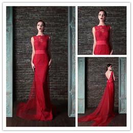 Wholesale 2015 Evening Dresses Bateau Lace Appliques Neckline V Back Sexy Tulle Sweep Train Prom Dresses