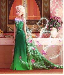 Wholesale 2015 newest fever elsa dress sleeveless flower dress for kids green flower girl dress fantasia dress green Elsa dress long cape costume