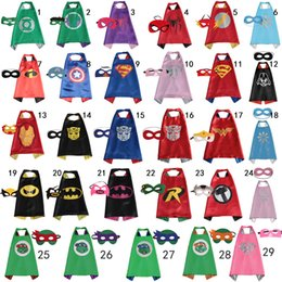 Wholesale 70 CM Double Side kids Superhero Cape Superman Batman Ninja Turtles Spiderman Captain America Supergirl kids capes with mask in stock
