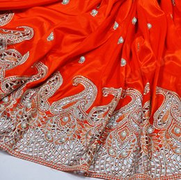 Wholesale of beads and sequins Silky George fabric African George lace fabric Nigeria Wedding Apparel Red Silver