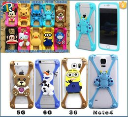 Wholesale Universal Silicone Bumper Cartoon Mickey Bear Stitch Monster Doll Case for to inch Phone iPhone s Plus Samsung HTC LG Sony Nokia
