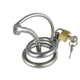 Wholesale 2015 Latest Design Male Stainless steel Urethral Stretching Catheter Short Cock Cage Ring Chastity Art Device BDSM Fetish Sex toys
