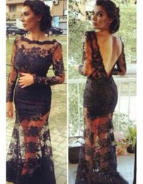 Wholesale Custom Made Black Lace Backless Evening Gowns With Sheer Long Sleeves Floor Length Inspired By Kim Kardashian Dresses