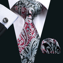 Top Selling Black Paisely Silk Ties Set for Men Hankerchief Cufflinks Jacquard Woven Classic Business Formal Work Neck Tie Set N-0359