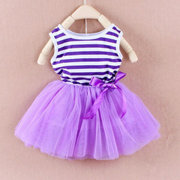 Wholesale baby girl kids rainbow stripe dress vest dress pettiskirt tutu skirt Christmas costumes princess lace dress party tulle frozen christmas