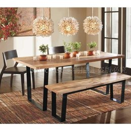 Wholesale American country to do the old wood furniture wrought iron dining table and chairs and coffee tables and chairs retro bar stool
