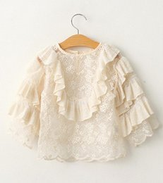Wholesale 2016 Spring Summer Kids girls ruffle lace tops Baby girl beige princess jumper shirts Girl Cake Sleeve T shirts Babies Clothes A7711