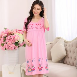 Wholesale Summer short sleeved cotton pajamas women nursing nightdress confinement month pregnant clothes clothes feeding thin section Siamese skirt