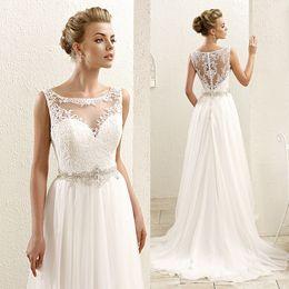 Wholesale Bohemian White Boho Plus Size Wedding Dresses Lace Rhinestone Elegant A Line Bridal Gowns Sleeveless Vestidos W3619