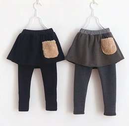 Wholesale 2015 Autumn Hot Sale Girls Pantskirt Fashion Kids Skirt Leggings With Pocket Thickened Children Leisure Culottes Fit Age T1195