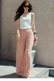 Wholesale Women Pluse Size Trousers senhora High Waist Wide Chiffon Harem Wide leg palazzo pants LC79502 calcas Feminino Pink Black Blue