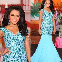Wholesale New Aqua Long Mermaid Prom Dresses With Sleeves Rhinestone Chiffon V Neck Women Party Evening Dress Gowns Vestidos De Festa