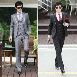 Wholesale Black Gray Men Luxury Formal Fitted Wedding Dress Coat Blazers Suits Jacket Pants Vest Tie M114