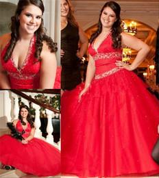 Wholesale Vestido de bola del dulce Sexteen Crystal Vestidos de quinceañera halter Lentejuelas Cuentas Tallas grandes Debutante púrpura Negro Blanco Quinceañera Prom Vestidos