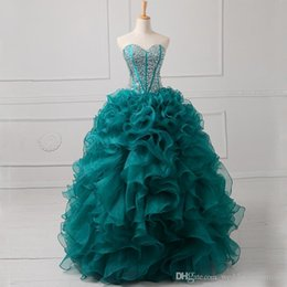 Wholesale Exquisite Turquoise Detachable Quinceanera Dresses Sweetheart Beaded Sequins Two Piece Debutante Gowns Cascading Ruffles Masquerade Dress