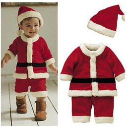Wholesale 2014 Hot Sale Santa Claus Costume Baby Christmas Clothing Sets High Quality Years Girl Boy Santa Suit Novelty Costume LJJD322 sets