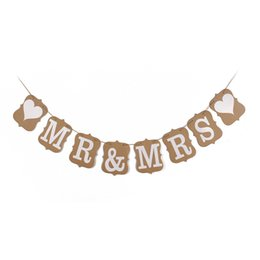 Wholesale 2015 MR MRS Heart kraft paper vintage Style Party Pennant Banner bunting for wedding or party decorations set