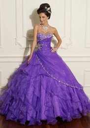 Wholesale Elegant Quinceanera Dresses Cheap Ball Gown Sweetheart Backless Organza Lace Applique Cascading Ruffles Debutante Dresses Quinceanera gowns