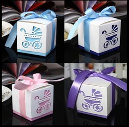 Wholesale 2015 color creative new born Baby s Laser Cut Carriage charm Shower Favor Candy Boxes Wedding Party Gift