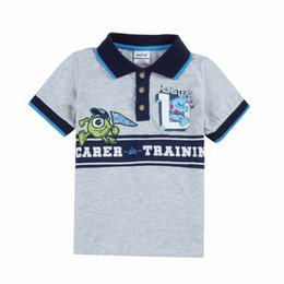 Wholesale Monsters University Boys Short Sleeve Polo Shirts Nova Summer Autumn Cotton Shirt Undershirt Boy Kids Children Child Clothes Gray K1708