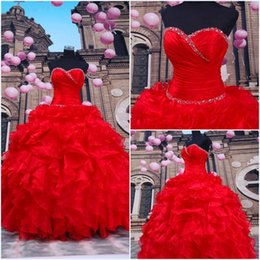 Wholesale 2015 Red Quinceanera Dresses Lace Up Sweetheart Sweet Dresses Ball Gown Debutante Prom Dresses Debutante Dresses Dhyz