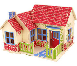 2016 New Kids Diy Wood 3d House Puzzle Model Building Kits Wooden Toys Educational Free Shipping