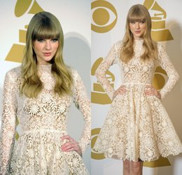 Wholesale Swift At Grammy Nominations Concert In Nashville Romance Lace Formal Evening Prom Dresses Long Sleeves Sheer Homecoming Dress