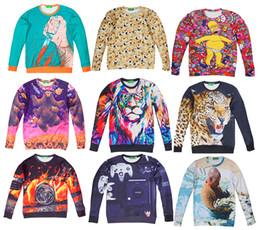 Wholesale Hot Women Men Sweatshirt Unisex Sweater D Novel Digital Print Long Sleeve Crewneck Pullovers T shirt Tops Sportwear Casual Shirt W001 W021
