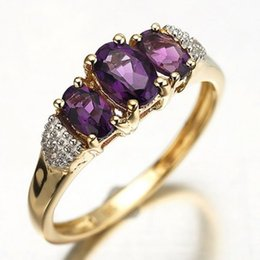 Wholesale sale Fashion size Jewelry Rings ladies Amethyst Stamp KT Anniversary Gift Yellow Gold Filled women s Rings R009YPA