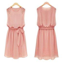 Wholesale Let s diet Magic Dress Season Women Girls Ladies Dress Candy Color Sleeveless Chiffon Casual Dress Vestidos