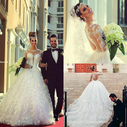 Wholesale 2015 Arabic custom made Lace Wedding Dresses Long Sleeves Sheer crew Neck A Line Cathedral Train Ball Gown Brazilian Bridal Gowns BO7084