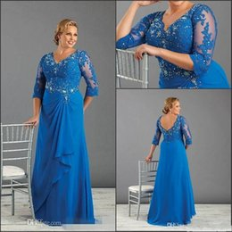 Wholesale Plus Size Formal Dresses With Long Sleeves Beaded Appliques V Neck Mother Of Bride Dress Chiffon Cheap Ruffles Prom Evening Gowns