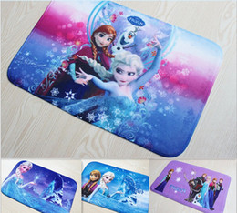Wholesale 3D Cartoon Frozen carpetBathroom Coral velvet children s mats cm area rug shaggy rugs lovely frozen door mat house decorations blanket