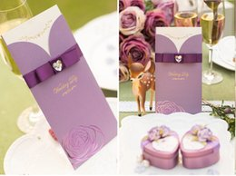 Wholesale New Cheap Pieces Hollow Wedding Invitation Romantic Purple Red Pink Card Folded Flora Wedding Supplies C2307