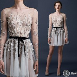 Wholesale 2015 New Arrival Short Evening Dresses Sheer Neck With Long Sleeves Prom Gowns Mini Organza Evening Dresses UM4385