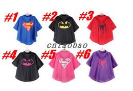 MOQ = 20pcs superman batman spiderman super-héros enfants imperméables enfants Rain Coat Imperméable Imperméables 6 options de couleurs avec des sacs