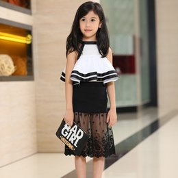 Wholesale 2015 Baby Girl Summer Outfits Chic Fashion Outfits Set Sleeveless Shirt Black Lace Skirt High Quality Baby Kid Clothing