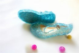 Wholesale 45pcs Frozen Girl Queen Elsa Princess Sandals Anime Cosplay Shoes Fashion Lolita Sweet Children s Shoes Wedge Cheap Hollow Crystal Shoes