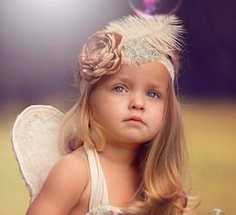 Wholesale Bebé tela flores diadema blanco avestruz plumas decoraciones diadema para niñas niños elástico bandas de encaje rhinestone cabello accesorios