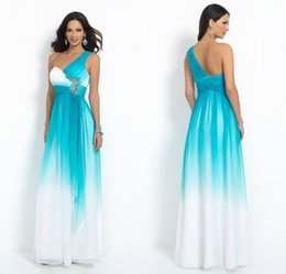 Wholesale One Shoulder Bridesmaid Dresses Sky Blue and White Pleated Bodice Crystal Beaded Ruffles Chiffon Skirt Full Wedding Party Gown