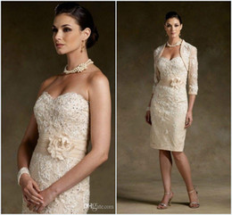 Wholesale Stock Cheap Mother of the Bride Dresses Sexy Sweetheart Lace Handmade Flower Knee Length Formal Dress With Jacket Gift