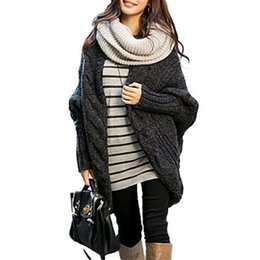Wholesale S5Q Women s Oversized Loose Batwing Sleeve Knitted Sweater Tops Cardigan Outwear AAAEKT